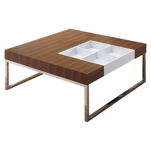 kathlyn contemporary coffee table with flip tray walnut - homes