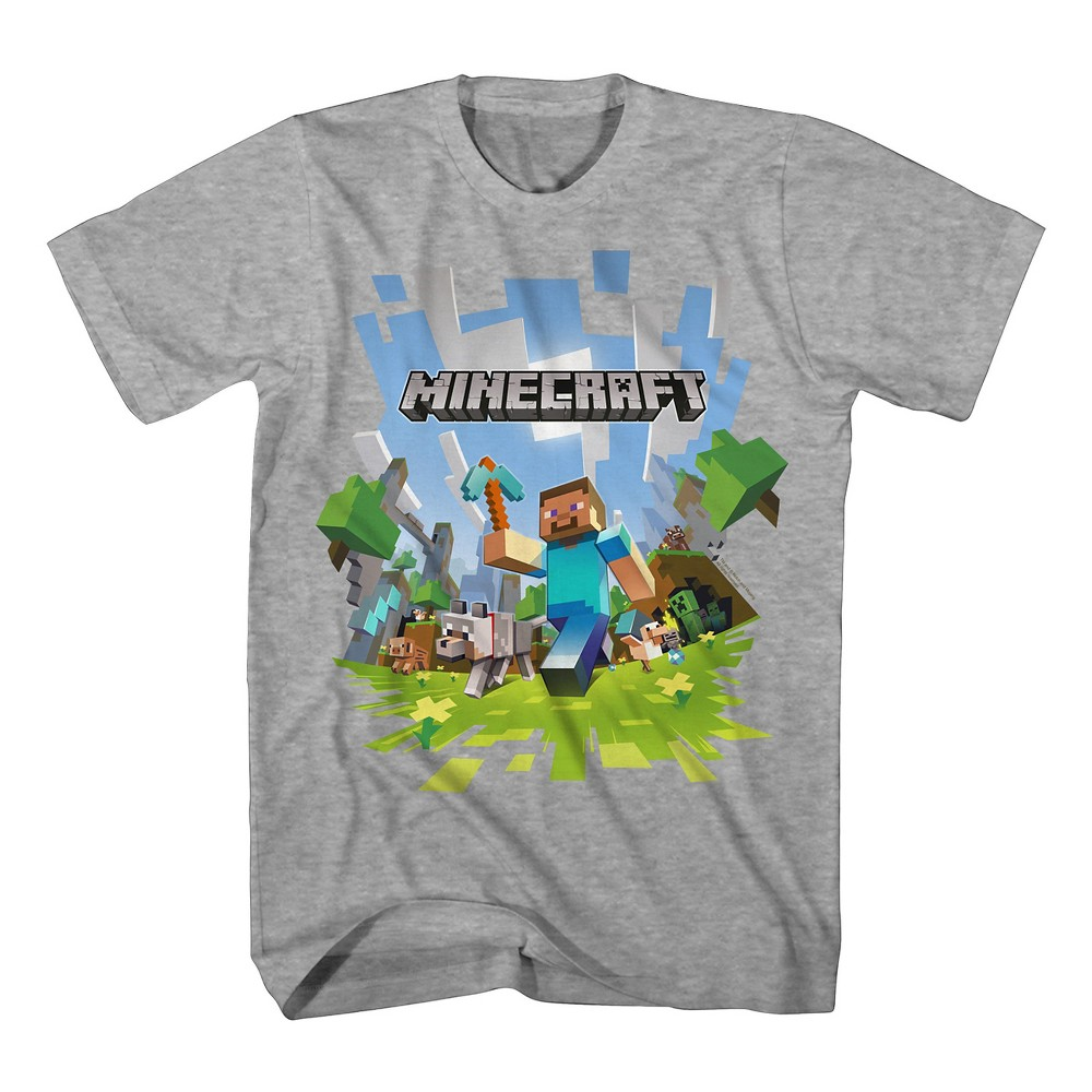 T-Shirt Minecraft Heather Xxl, Boys, Gray