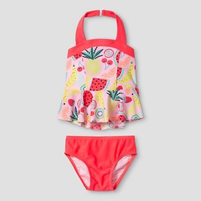 Baby Girls' Halter Top Tankini Set Fruit Cat & Jack™ - Pink 9M