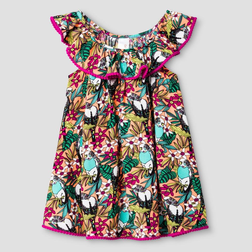 1940s Children's Clothing: Girls, Boys, Baby, Toddler Toddler Girls Tropical Print Cover Up Dress Cat  Jack - Orange 2T Toddler Girls $9.78 AT vintagedancer.com