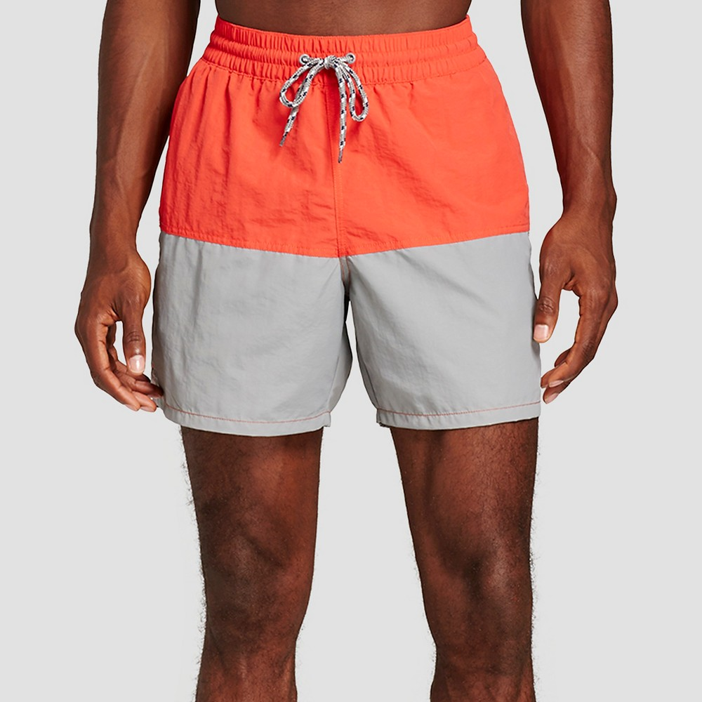 Mens Colorblock Swim Trunks Red Gray L - Merona