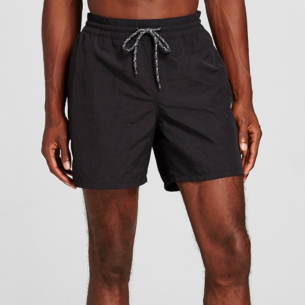 Mens Solid Swim Trunks Black M - Merona