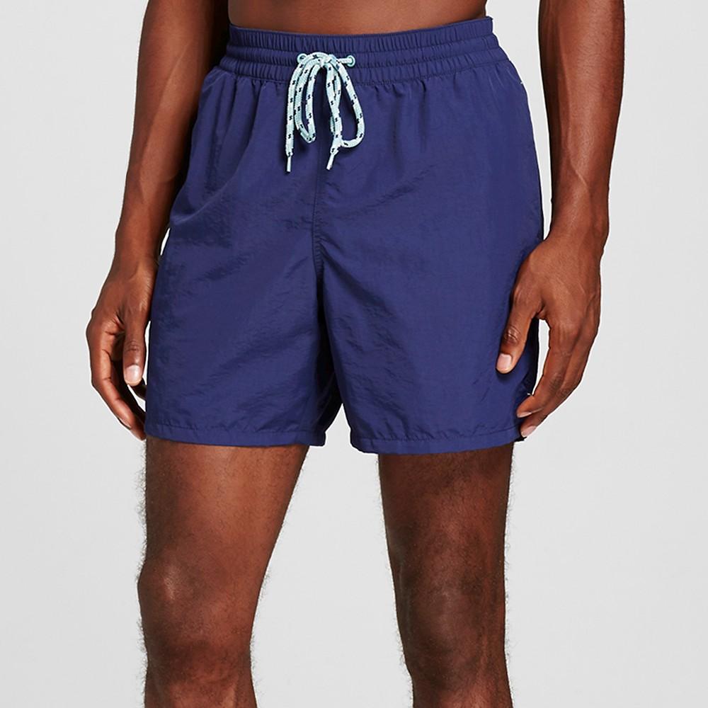 Mens Solid Swim Trunks Navy XL - Merona, Blue