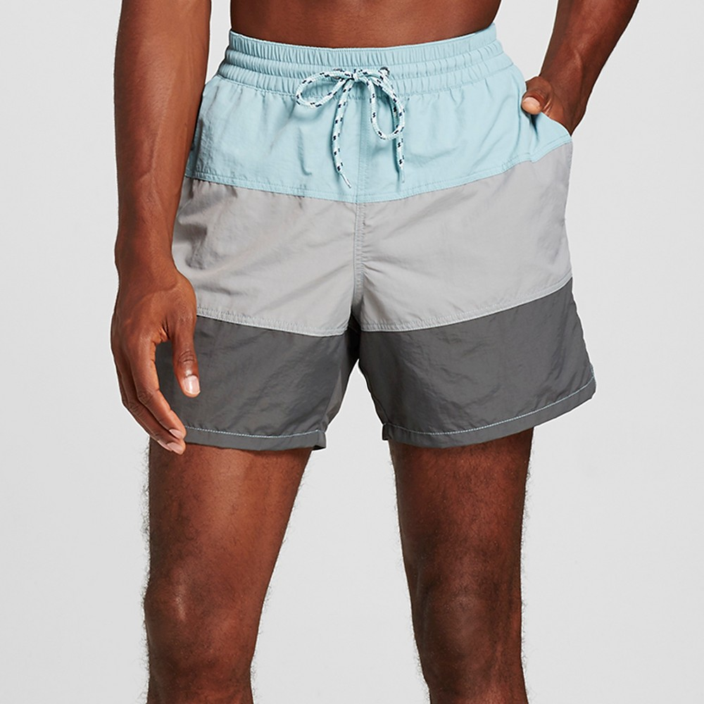 Mens Colorblock Swim Trunks Blue Gray L - Merona