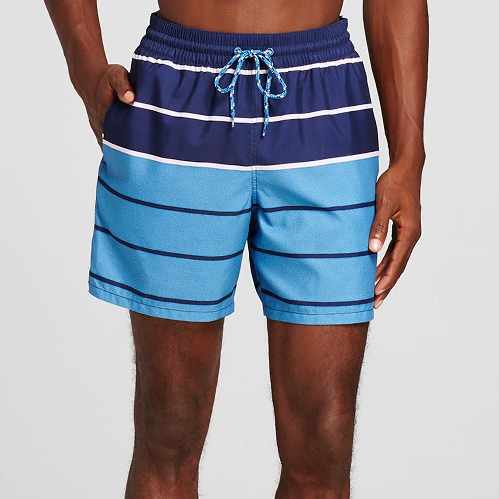 Mens Stripe Swim Trunks Blue S - Merona