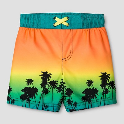 Baby Boys' Palm Tree Print Swim Trunk - Cat & Jack™ Turquoise 9M