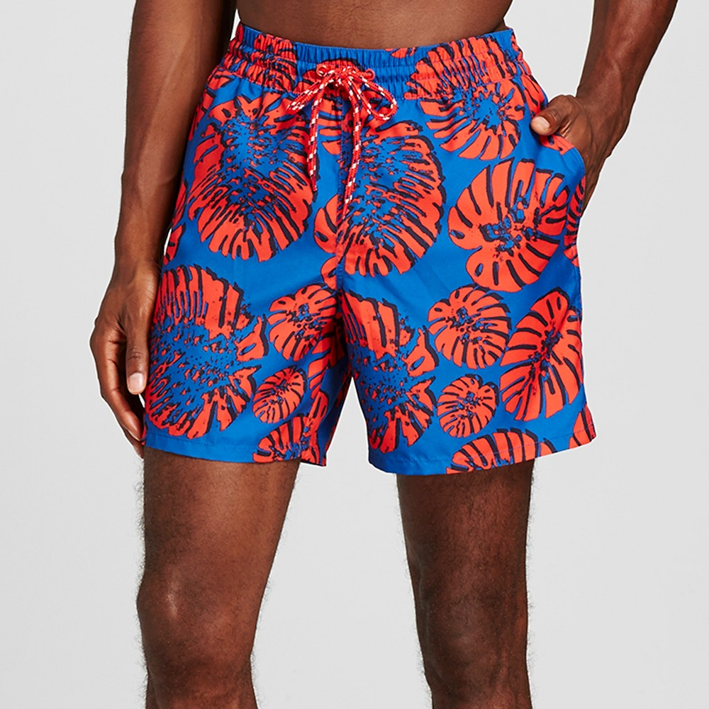 Mens Tropical Print Swim Trunks Red S - Merona