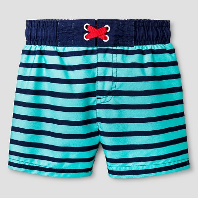 Baby Boys' Striped Swim Trunk - Cat & Jack™ Aqua 9M