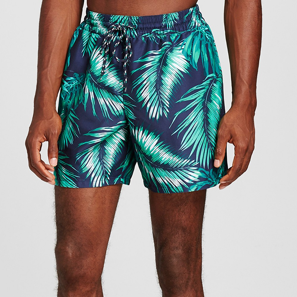 Mens Palm Print Swim Trunks Navy (Blue) S - Merona