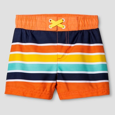 Baby Boys' Striped Swim Trunk Cat & Jack™ - Orange 9M