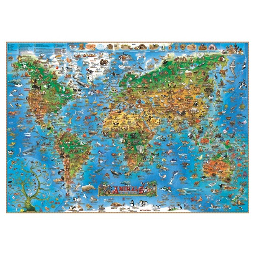 Dinos Illustrated Map of Animals of the World English Edition