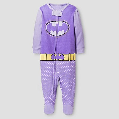 Baby Girls' Batgirl Footed Sleeper - Purple 0-3M
