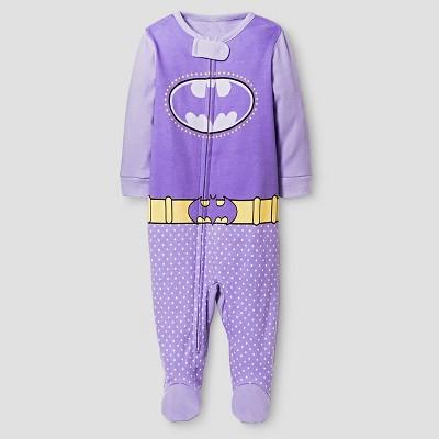 Baby Girls' Batgirl Footed Sleeper - Purple 3-6M