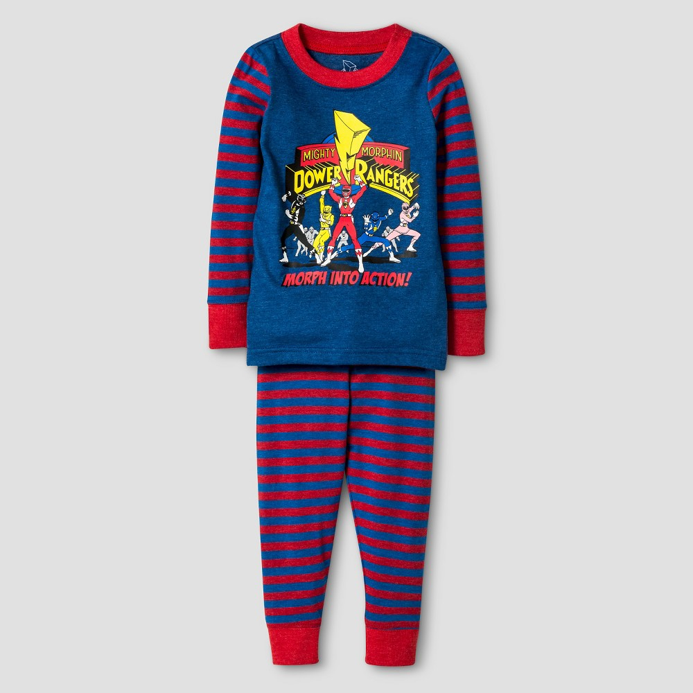 Toddler Boys Power Rangers Action Long Sleeve Tight Fit 2pc Pajama Set Blue 2T
