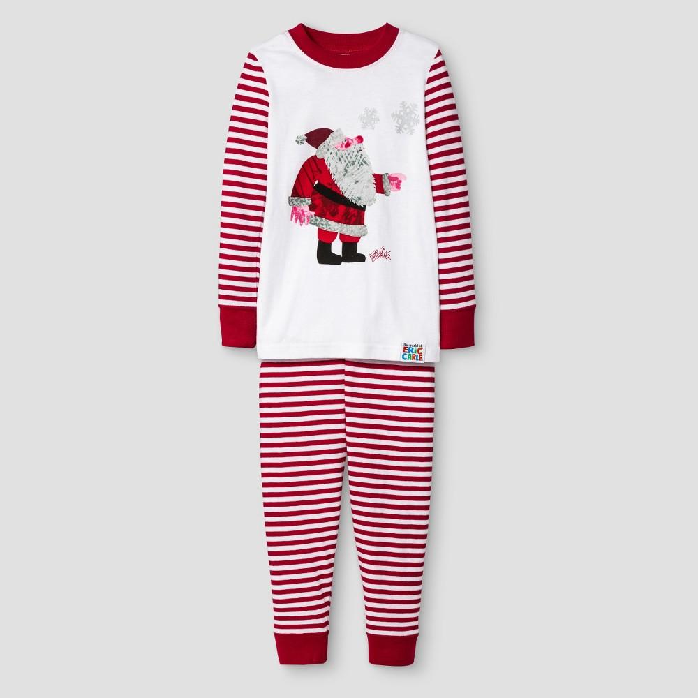 Toddler Eric Carle Santa Long Sleeve Tight Fit 2-Piece Pajama Set White/Red 3T, Toddler Unisex, Red White