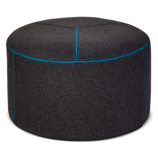 Round Pouf Gray Blue