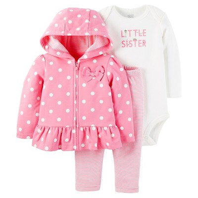 Just One You™ Made by Carter's® Baby Girls' 3pc Hooded Cardigan Set - Pink Polka Dot Little Sister 9M