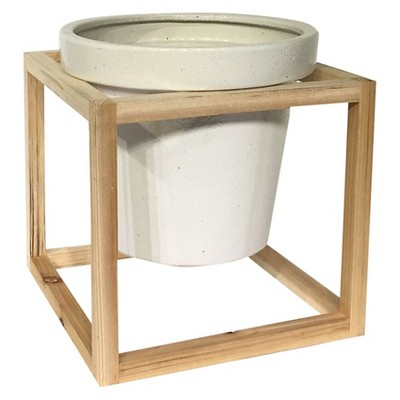 Stoneware Planter with Wood Frame (10.8 )- Smith & Hawken™
