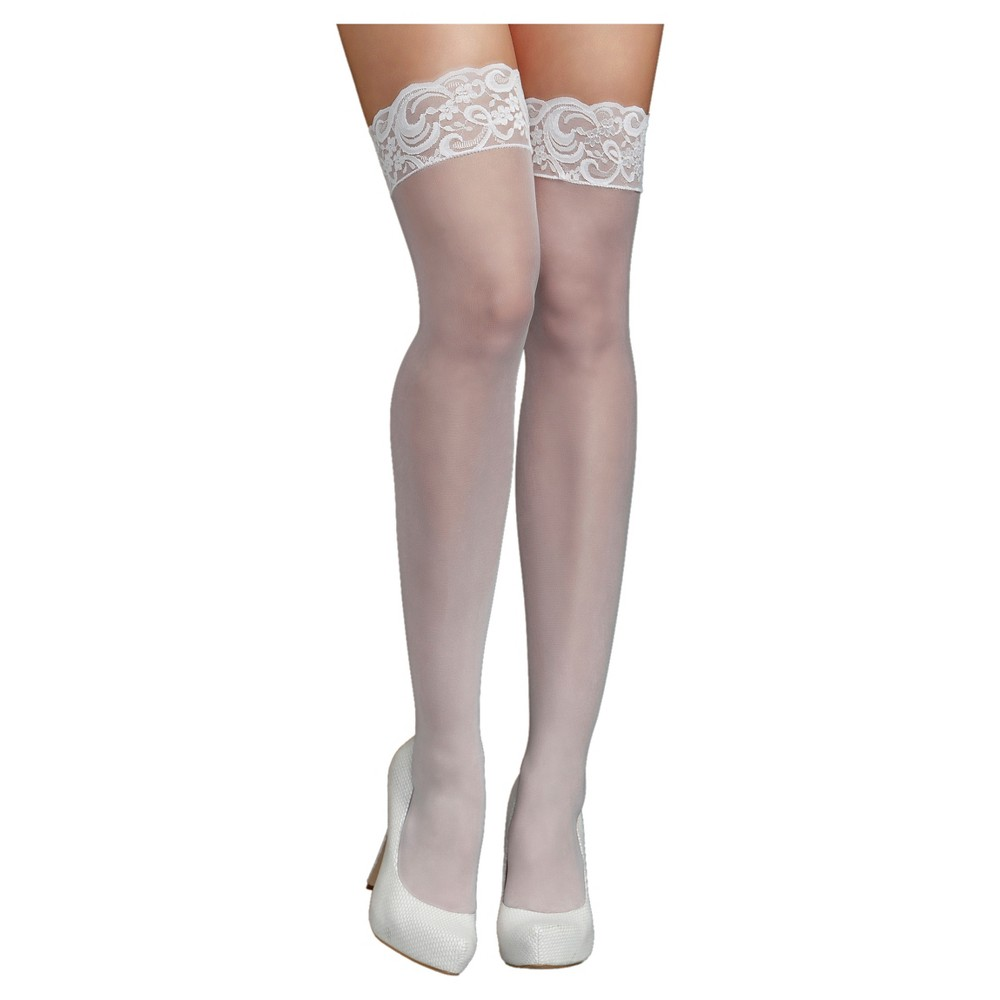 iCollection Womens Lace Top Sheer Thigh High Stockings - White One Size