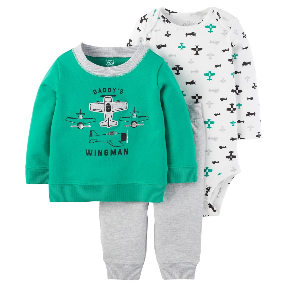 Baby Boys' 3-Piece Sweatshirt Set Airplanes Green 12M – Just One You Made by Carter's, Infant Boy's, Size: 12 M