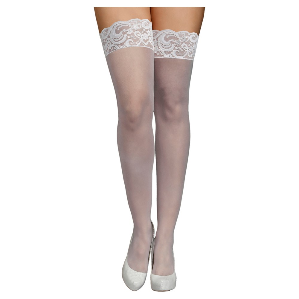 iCollection Womens Plus Size Lace Top Sheer Thigh High Stockings - White One Size