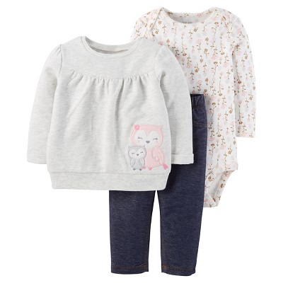 Just One You™ Made by Carter's® Baby Girls' 3pc Sweatshirt Set Owl Top with Jeggings - Grey 6M