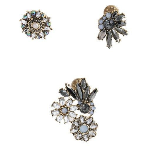 Women's 3 Piece Pin Set With Stones- Gold/Black