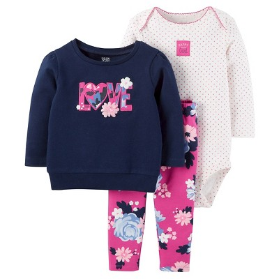 Just One You™ Made by Carter's® Baby Girls' 3pc Sweatshirt Set - Love Floral Navy 9M