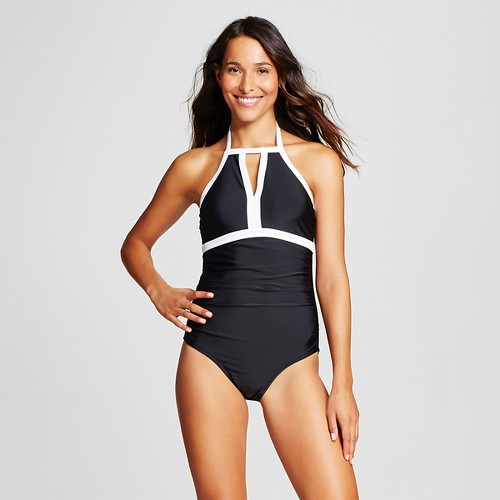 Women's Keyhole High Neck One Piece - Black - S - Merona