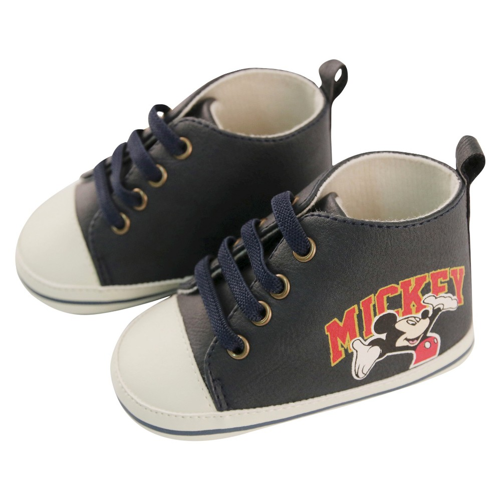 Baby Boys Disney Mickey Mouse High Top Crib Shoes Blue 6-9M
