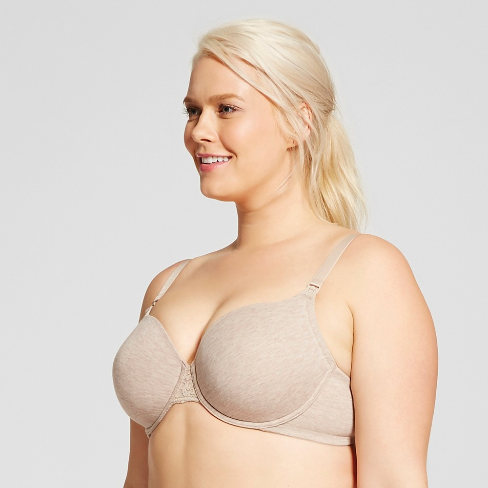 La Leche League Womens Nursing Bra with Convertible Lace Back - Wheat 40DDD
