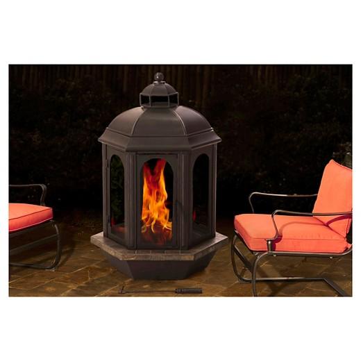 Sunjoy Ava 52 Slate And Steel Outdoor Fireplace
