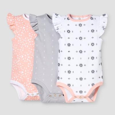 Baby Girls' 3-Piece Bodysuit Set Nate Berkus™ - Peach/White 0-3M