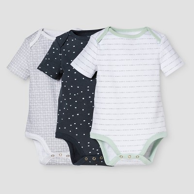 Baby Boys' 3-Piece Bodysuit Set Nate Berkus™ - White/Graphite 0-3M