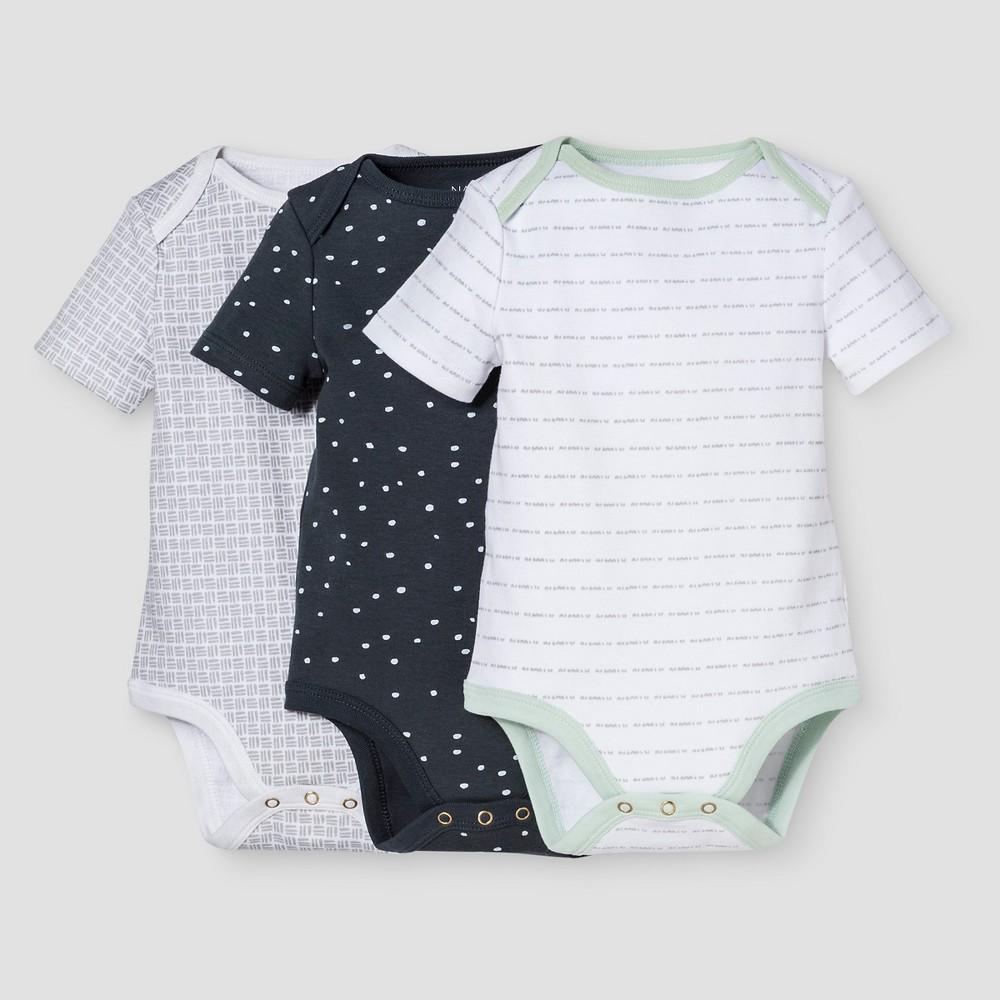 Baby Boys 3-Piece Bodysuit Set Nate Berkus - White/Graphite 0-3M, Size: 0-3 M, Blue