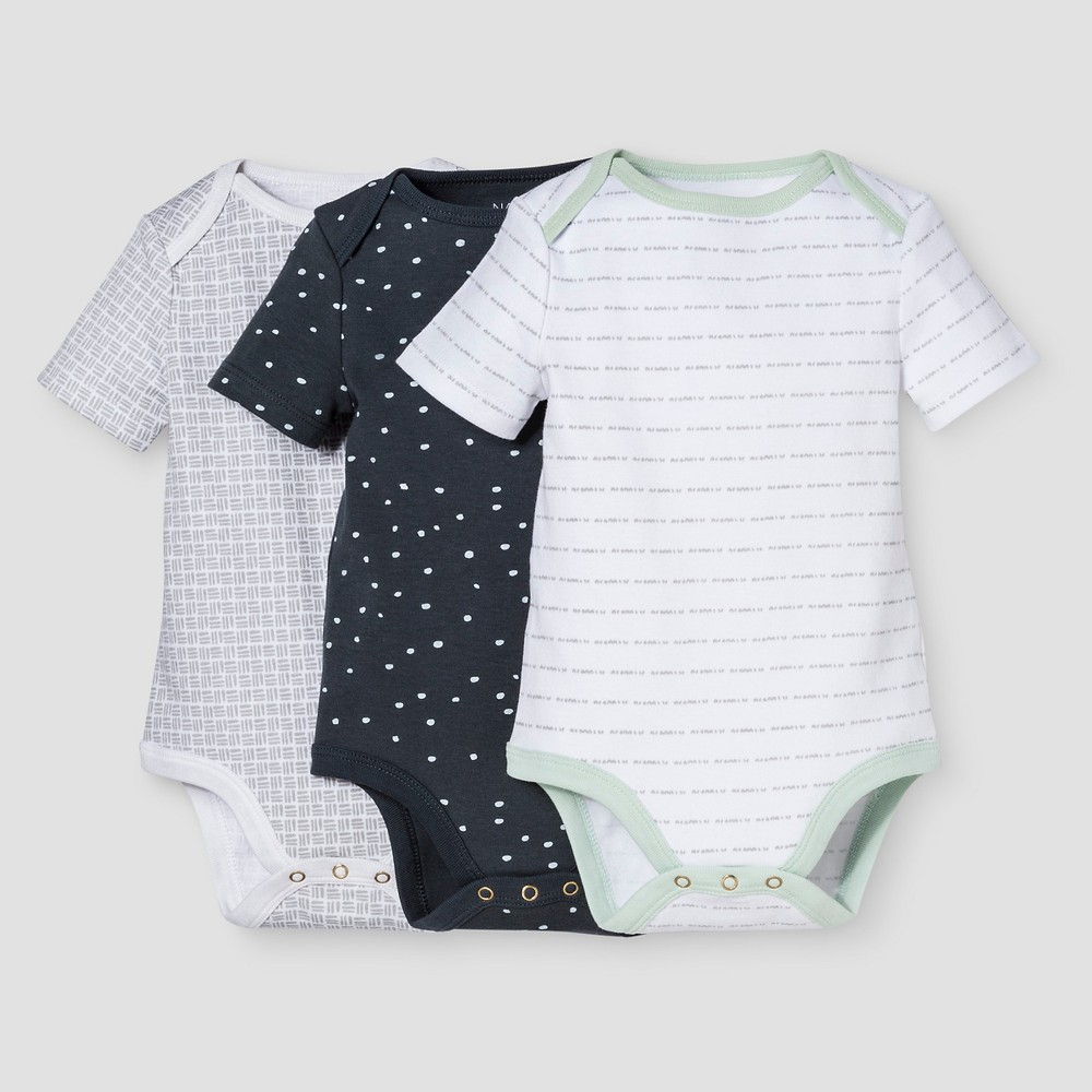 Baby Boys 3-Piece Bodysuit Set Nate Berkus - White/Graphite 3-6M, Size: 3-6 M, Blue