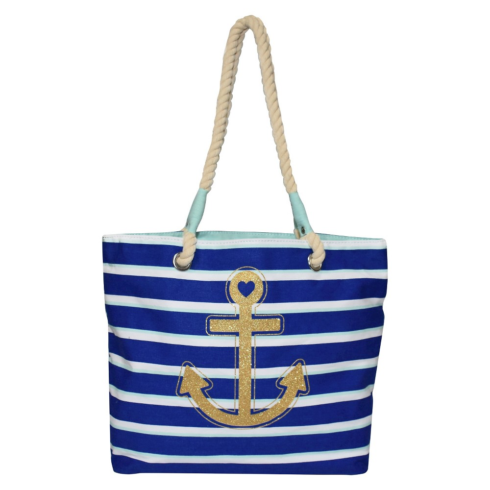 Girls' Multi-Stripe Glitter Anchor Tote Bag Cat & Jack – Blue One Size, Girl's