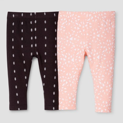 Baby Girls' 2-Piece Leggings Set Nate Berkus™ - Peach/Charcoal 0-3M
