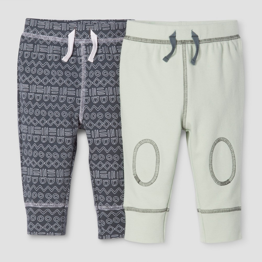 Baby Boys 2-Piece Pants Set Nate Berkus - Graphite/Sage 18M, Size: 18 M, Blue