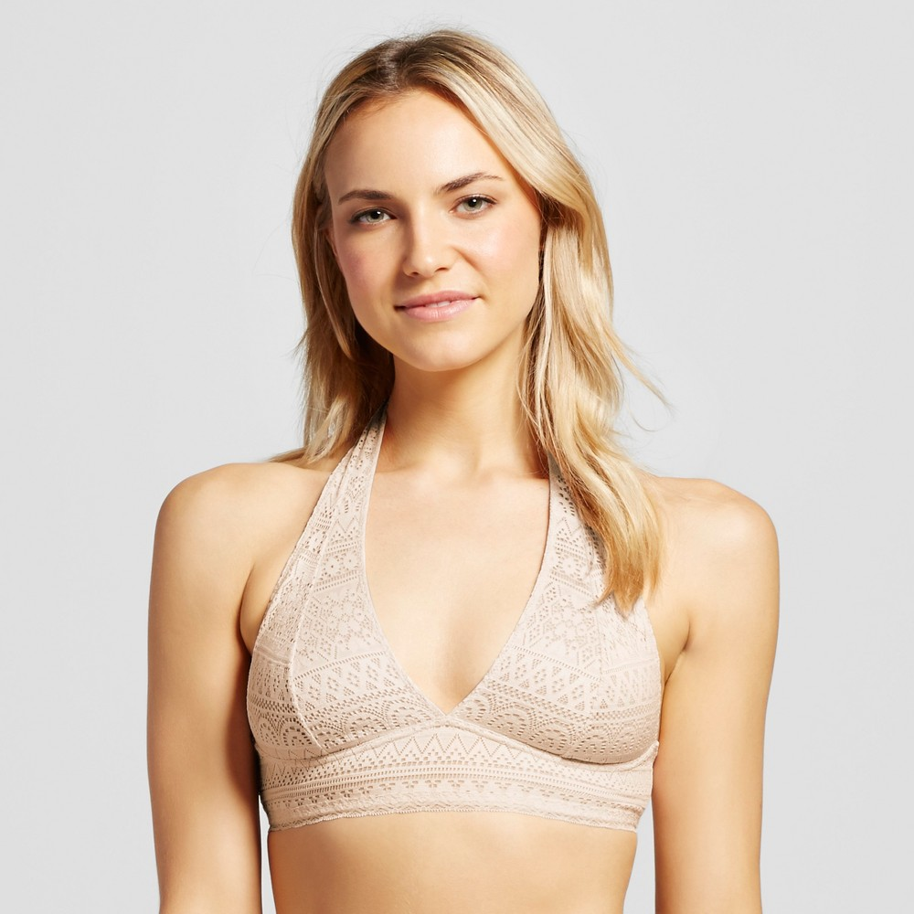 Womens Geo Lace Halter Bralette - Xhilaration Feather Peach L