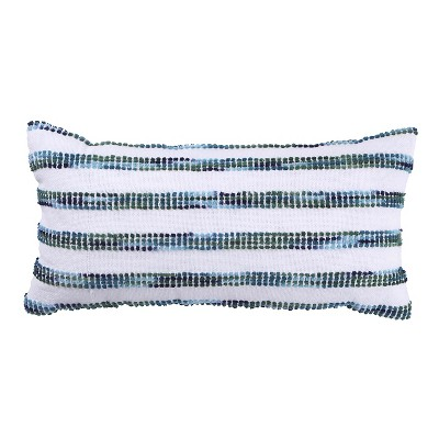 White and Blue Striped Lumbar Pillow - Threshold™