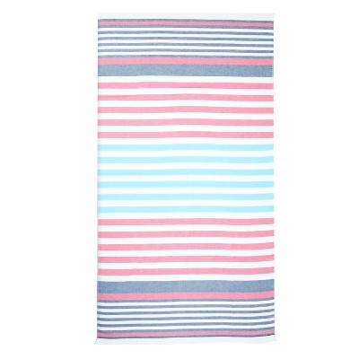 Flat Weave Beach Towel - NAUTICAL - Evergreen