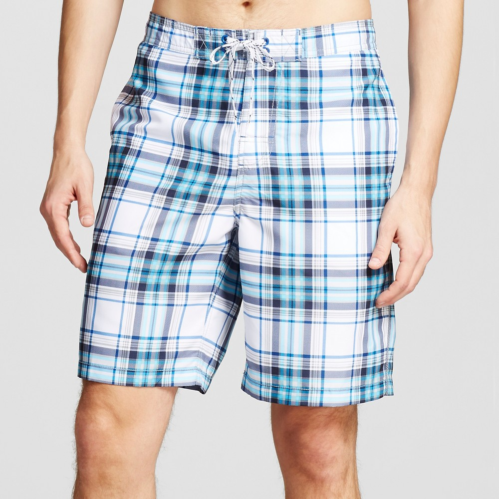 Mens Plaid Swim Trunks White S - Merona