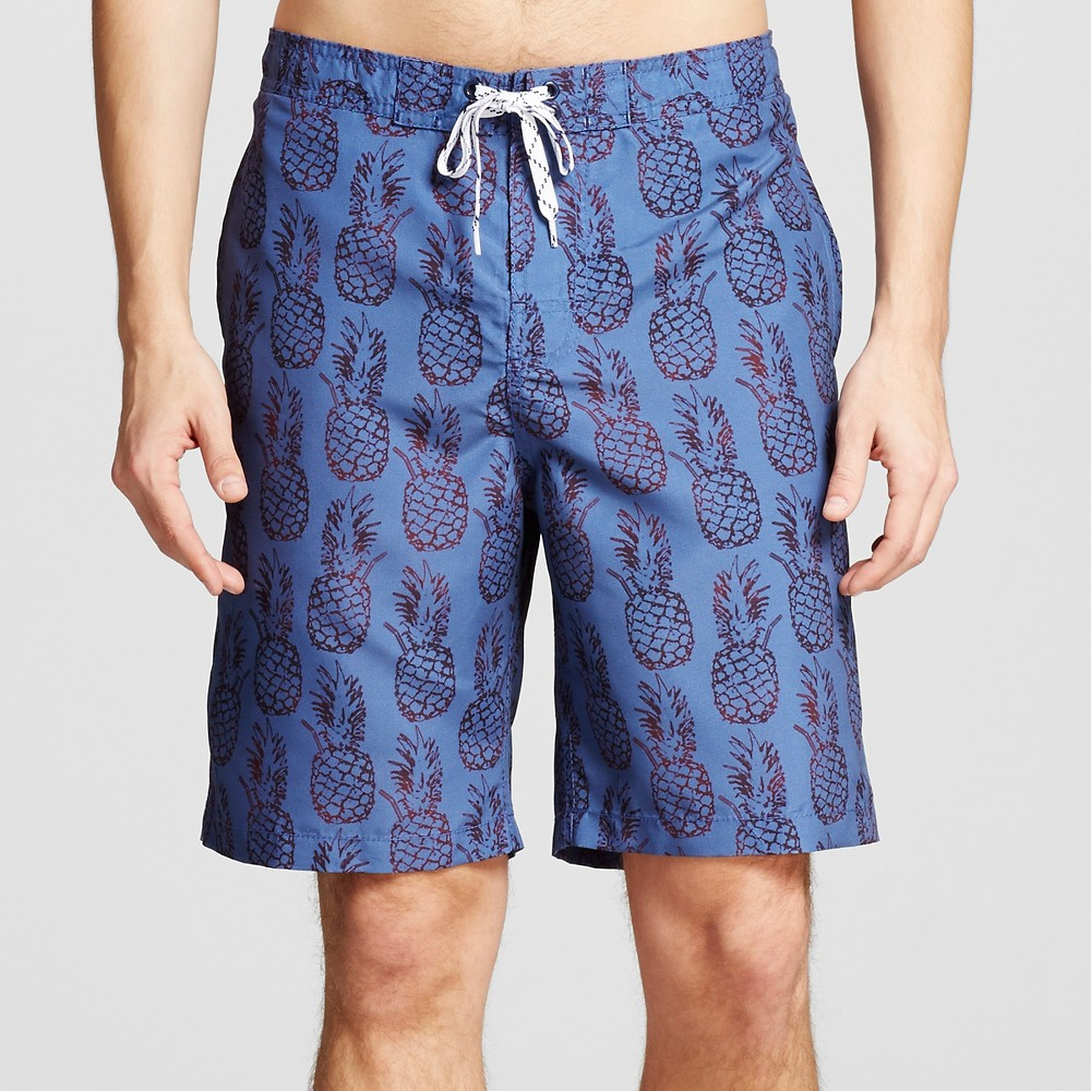 Mens Pineapple Print Swim Trunks Blue S - Merona