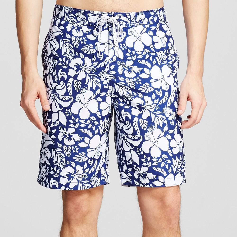 Mens Floral Print Swim Trunks Blue M - Merona