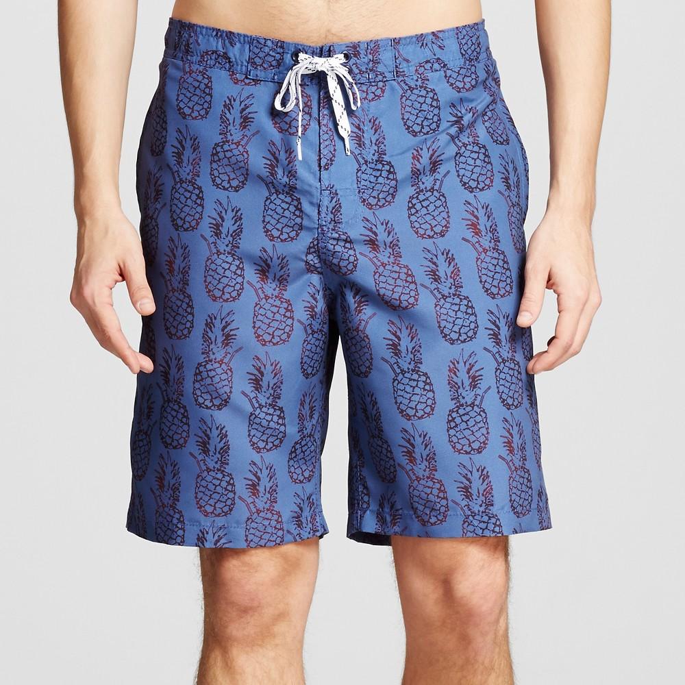 Mens Pineapple Print Swim Trunks Blue L - Merona