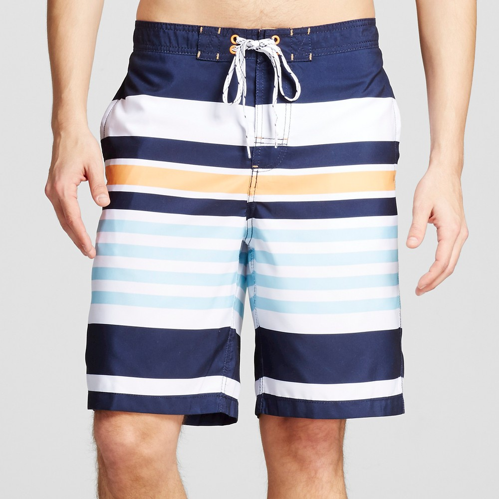 Mens Stripe Swim Trunks Navy (Blue) M - Merona