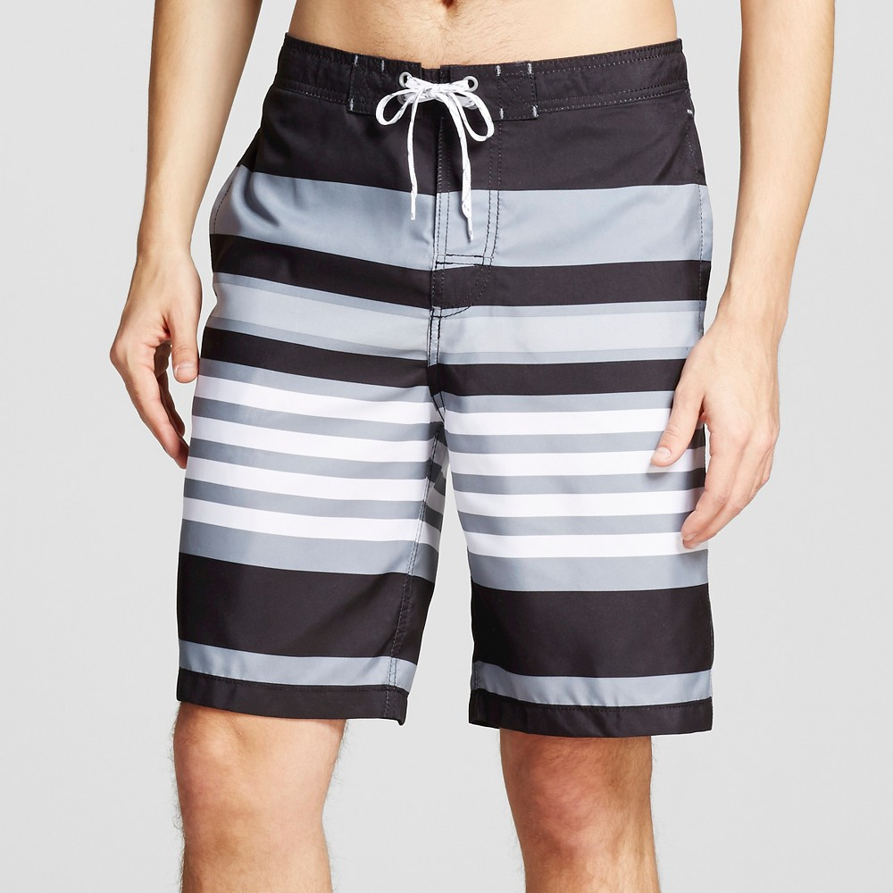 Mens Stripe Swim Trunks Black L - Merona