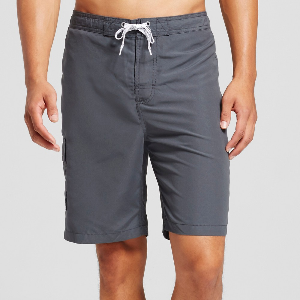 Mens Solid Swim Trunks Gray L - Merona