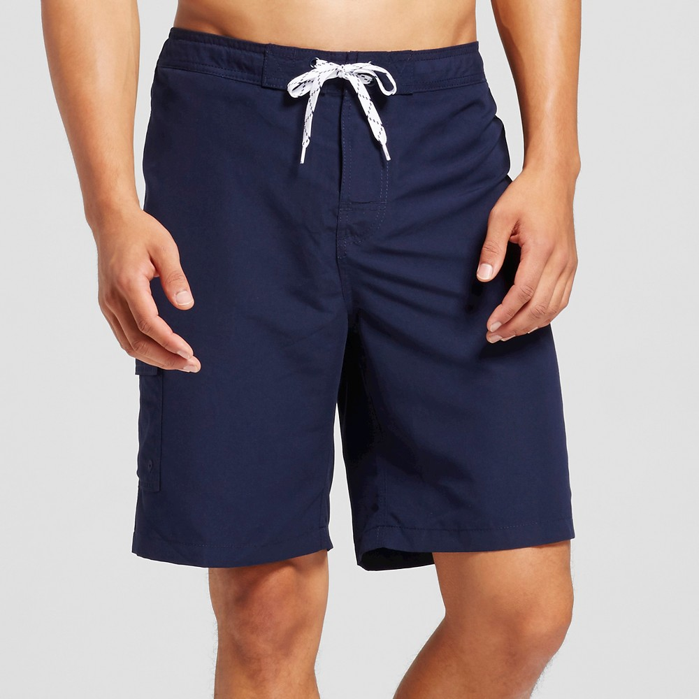Mens Solid Swim Trunks Navy (Blue) M - Merona
